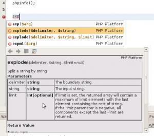napovídání PHP funkcí